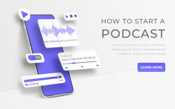 White realistic 3d vector smartphone. Webinar, online training, radio show or audio blog podcast concept. Mobile app infographic template with buttons and ui sliders. Interface for audio control illustration